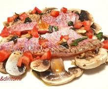 CARPACCIO DI TRIGLIA DI SCOGLIO CON CHAMPIGNON ALLA MENTA ( ricetta dello Chef Salvatore Marcia )
